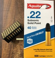Aguila  .22 lr  Subsonic Solid Point  40grs LRN   50 Stück