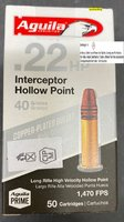 Aguila  .22 lr Intercepter HV 40grs Hollow Point  - Fastest 40grs. .22 LR in the Market -   50 Stück